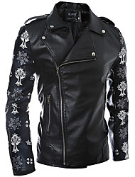 Men's Party Beach Holiday Going out Casual/Daily Club Cute Active Punk & Gothic Fall Winter Leather Jacket,Print Shirt Collar Long Sleeve