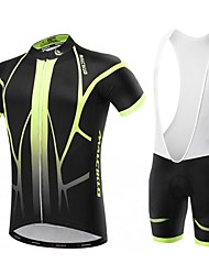Malciklo Cycling Jersey with Bib Shorts Men's Short Sleeves Bike Clothing Suits Quick Dry Front Zipper Wearable High Breathability