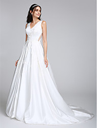 A-Line V-neck Court Train Satin Wedding Dress with Appliques by LAN TING BRIDE®