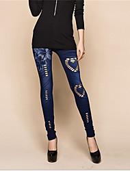 preiswerte -Damen Mittel Elasthan Shredded Legging, Blau