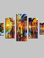 Dipinta a mano Astratto Paesaggi Paesaggi astratti Animali Qualsiasi forma,Classico Cinque Pannelli Tela Hang-Dipinto ad olio For