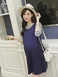 Ample Robe Maternité Décontracté / Quotidien Mignon,Couleur Pleine Col Arrondi Au dessus du genou Manches Longues Bleu Coton Eté