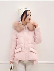 baratos -Mulheres Casual Moda de Rua Penas de Pato Branco Duvet Sólido Com Capuz / Inverno