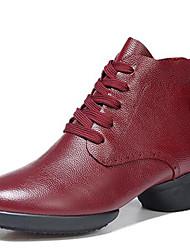 Scarpe da ballo-Non personalizzabile-Da donna-Moderno / Stivali di danza-Basso-Di pelle-Nero / Rosso