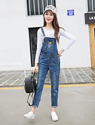 economico -Da donna Vintage Anelastico Jeans Tuta da lavoro Pantaloni,Tinta unita Cotone Poliestere Autunno
