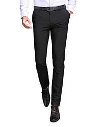 cheap -Men's Mid Rise Inelastic Slim Business Pants,Casual Solid Rayon Polyester Spandex All Seasons