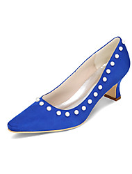 cheap -Women's Shoes Silk Spring Summer Heels Chunky Heel Imitation Pearl for Wedding Party & Evening Blue Pink Golden Champagne Ivory