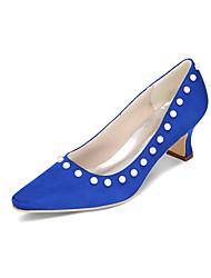 Feminino-Saltos-Saltos / Bico Quadrado-Salto Grosso-Preto / Azul / Rosa / Roxo / Vermelho / Marfim / Branco / Prateado / Dourado /