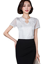 cheap -Summer Daily/Plus Size Women's Tops Solid Color V Neck Short Sleeve Lace Embroidered Slim Blouse Shirt
