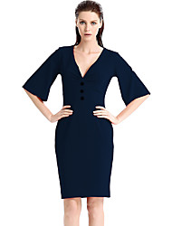 cheap -Women's Plus Size Work Flare Sleeve Bodycon Dress - Solid, Beaded V Neck