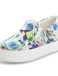Mulheres Sapatos Tecido Primavera Outono Conforto Mocassins e Slip-Ons Caminhada Salto Robusto para Casual Branco Preto
