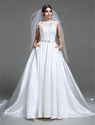 abordables -Corte en A / Princesa Escote de ilusión Capilla Satén Vestidos de novia hechos a medida con Pajarita / Apliques / Botón por LAN TING