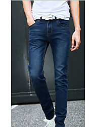 baratos -Homens Casual Cintura Média Micro-Elástica Jeans Calças, Algodão Todas as Estações Sólido