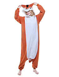 abordables -Pyjamas Kigurumi Chipmunk / Souris Combinaison de Pyjamas Costume Polaire Orange Cosplay Pour Adulte Pyjamas Animale Dessin animé