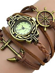baratos -Mulheres Relógio de Pulso Legal / / PU Banda Vintage / Casual / Boêmio Preta / Branco / Rosa / Aço Inoxidável