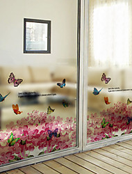 Window Film Window Decals Style Flying Butterflies in The Flowersn Matte PVC Window Film - (60 x 58)cm