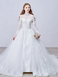 cheap -Ball Gown Bateau Neck Cathedral Train Lace Over Tulle Custom Wedding Dresses with Appliques Lace Button by LAN TING Express