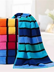 "1 Piece Full Cotton Thickening Hand Towel 28"" by 14"" Stripe Pattern Super Soft Strong Water Absorption Capacity"