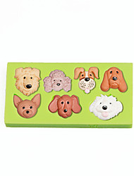 Pet Puppy Dog Face Silicone Molds Fondant Cake Decoration Tools Color Random