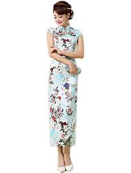 cheap -One-Piece Short Sleeve Long Length Light Green / Blue Lolita Dress Polyester