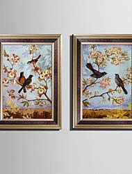 baratos -Animal Quadros Emoldurados / Conjunto Emoldurado Wall Art,PVC Material Marrom Sem Cartolina de Passepartout com frame For Decoração para