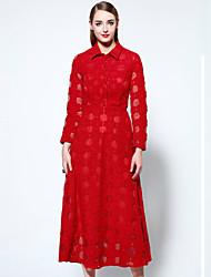 Feminino Swing Vestido,Casual Simples Sólido Colarinho de Camisa Médio Manga Longa Vermelho Poliéster / Elastano Outono Cintura Média