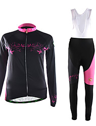 cheap -TVSSS Cycling Jersey with Bib Tights Women's Long Sleeve Bike Clothing Suits Thermal / Warm Polyester Fleece LYCRA® Patchwork Classic