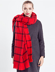 Women Vintage Casual Rectangle Red Plaid Classic Color Stitching Tassels Warm Cotton Fringed Shawl Scarf