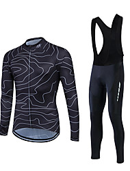 Fastcute Cycling Jersey with Bib Tights Men's Long Sleeves Bike Clothing Suits Breathable Lightweight Materials 3D Pad Back Pocket