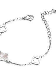 Womens Shell Cross Flower Charm Titanium Steel Link Chain Bracelets