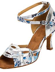 Women's Dance Shoes Satin Latin / Salsa Sandals / Heels Heel Practice / Indoor White Customizable