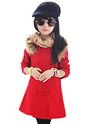 Girl's Spring/Autumn/Winter Fashion Double-breasted Fur Trim Long Sleeve Jacket Casual/Daily Woolen Blend Coat