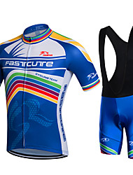 Fastcute Cycling Jersey with Bib Shorts Men's Short Sleeves Bike Bib Shorts Jacket Shorts Shirt Sweatshirt Jersey Bib Tights Tops Quick