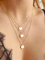 cheap -Fashion Gold Chain Necklace Jewelry 3PCS Round Metel Pendant & Necklace Multilayer Necklaces For Women