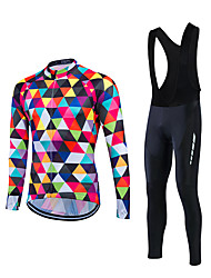 cheap -Fastcute Men's Long Sleeves Cycling Jersey with Bib Tights - Black Bike Clothing Suits, Thermal / Warm Fleece