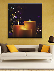 E-HOME® Stretched LED Canvas Print Art The Candle Christmas Series LED Flashing Optical Fiber Print One Pcs