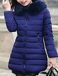 cheap -Women's Regular Down Coat,Simple Cute Street chic Casual/Daily Holiday Solid-Cotton Polyester Without Filling Material Long Sleeves Hooded