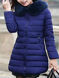 abordables -Abrigo Regular Largo Mujer Simple Bonito Chic de Calle Casual/Diario Festivos,Un Color Algodón Poliéster Sin Material de Relleno Con