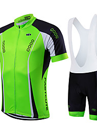 cheap -Fastcute Men's Short Sleeves Cycling Jersey with Bib Shorts - Black Green Bike Clothing Suits, Quick Dry, Breathable, Spring Summer,
