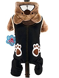 cheap -Cat Dog Costume Hoodie Jumpsuit Dog Clothes Cute Cosplay Keep Warm Animal Gray Brown Costume For Pets