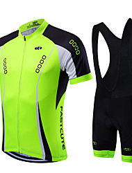 cheap -Fastcute Men's Short Sleeves Cycling Jersey with Bib Shorts - Light Green Bike Clothing Suits, Quick Dry, Breathable