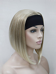 cheap -new fashion blonde mix 3 4 wig with headband women s short straight synthetic half wig