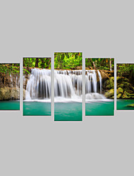 cheap -Photographic Print Canvas Set Canvas Print Landscape Leisure Botanical Photographic Realism Travel Five Panels Horizontal Print Wall Decor