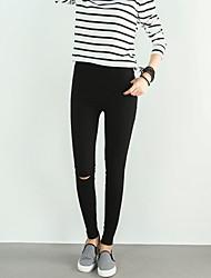 preiswerte -Damen Freizeit Aktiv Mittlere Hüfthöhe Dehnbar Eng Jeans Hose,Polyester Ganzjährig Solide