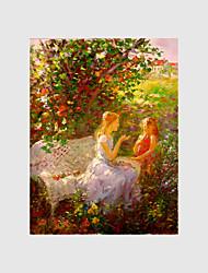 billige -Hånd-malede Landskab / Mennesker / Blomstret/Botanisk Oliemalerier,Moderne Et Panel Canvas Hang-Painted Oliemaleri For Hjem Dekoration