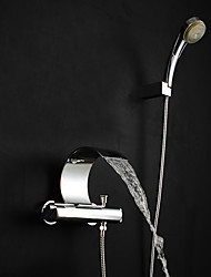 cheap -Shower Faucet Bathtub Faucet Bathroom Sink Faucet - Contemporary Art Deco / Retro Modern Chrome Tub And Shower Brass Valve