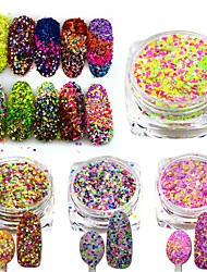 cheap -3g Mixed Colors Shining Nail Cheese Glitter Sequins Powder Nail Art Manicure Pigment Beauty Nail Decorations SN09-16