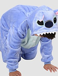 cheap -Kigurumi Pajamas Blue Monster Onesie Pajamas Costume Polar Fleece Blue Cosplay For Kid's Animal Sleepwear Cartoon Halloween Festival /