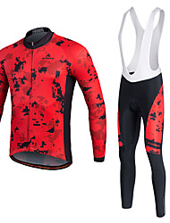 Miloto Cycling Jersey with Bib Tights Men's Unisex Long Sleeves Bike Pants/Trousers/Overtrousers Tracksuit Jersey Tights Bib Tights Tops