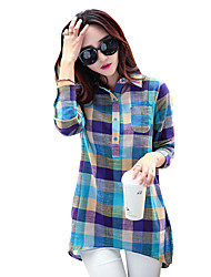 cheap -Women's Daily Casual Spring Fall T-shirt,Plaid Shirt Collar Long Sleeves Polyester Medium